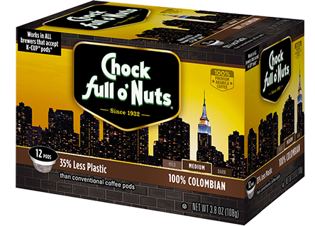 Chock Full O' Nuts 100% Colombian Coffee K-Cup Box