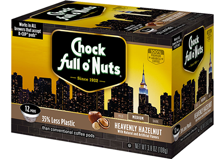Chock Full O' Nuts Heavenly Hazelnut Coffee K-Cup Box