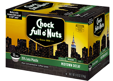 Chock Full O' Nuts Midtown Decaf K-Cup Box